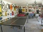 Recreational garage. Ping-pong, pinball, foosball, 12+ bikes.