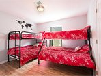 Twin-over-twin and full-over-full bunkbeds. Sleeps 4-6. With 28 inch smart TV