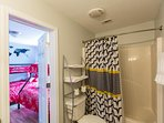 Private large full bathroom  upstairs for the bunkbed room