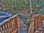 Hot Tub by the creek on the back deck.