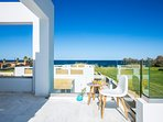 The villa is designed to offer clear view to the sea from the first floor bedrooms and balcony
