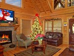 Living Room -  Cabin is fully decorated for Christmas