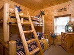 Lower Level Bedroom -Log Bunk Bed-Double/Single TV & PlayStation 2
