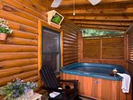 Private hot tub with outdoor TV