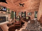 Living Room - Wood Burning Fireplace - Large HDTV -Sleeper Sofa-Reclining chair