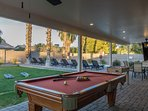 Pool Table, Foosball and outdoor TV