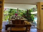 The best setting for family to gather and enjoy breakfast, lunch, and dinner.