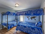 Twin-over-twin and full-over-full bunkbeds.  Sleeps 4-6.  28in Smart TV