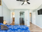 Grand master bedroom upstairs with full bathroom and 40 inch smart TV