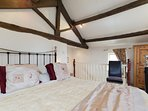 This king size bed has extra thick mattress and quality linen.
