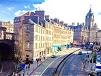 View  towards the apartment and the east end of Princes Street.