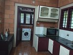 Fully equipped kitchen with refrigerator, microwave , three burner gas stove , blender , Juicer and
