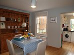 Dining room in Old Post cottage  - the dining table can be opened out to double in size.