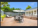 Backyard With Outdoor Dining, Lounge & Sunbeds