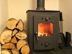 Woodburner for cosy winter stays!
