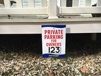 Private parking space next to home