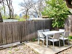 Outdoor patio with brand new furniture set and a view of the Austin skyline!