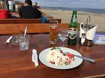 Traditional Chopska salad with Rakia directly at the beach.