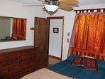 Master Bedroom (Queen size memory foam mattress). Ceiling fan