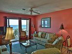 Southern Sands 305 Living Room with flatscreen TV & Awesome Gulf Views!