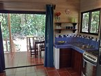 Kitchen with forest view