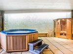 The spa hot tub and sauna