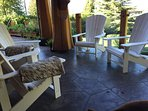 Comfortable, covered and scenic patio/deck seating areas