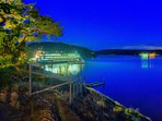 Orcas Island:  Ferry lights reflected in water