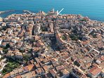 Flying view of Antibes old town, my place is on the hearth of historical old city (see arrow)