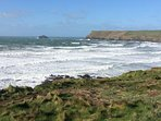 a 5 minute walk to the coast path, this is on a February day after a storm going to Polzeath beach