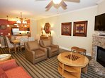 Living Area features flat screen tv and plenty of seating for the whole family!