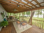 Huge covered deck. Seating for 10 and hot tub. Peaceful place to sip coffee in morning