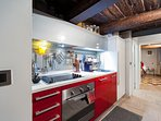 full equipped kitchen: hob, electric oven, integrated dishwascher