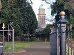 View of St Mary Magdalen church through castle gardens Bridgnorth.
