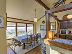 Enjoy sweeping views of the dunes from the dining area.