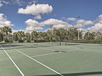 The tennis court is one of the many resort amenities you can enjoy at this lovely home.