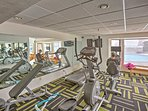 Keep up with your workout routine in the fitness center.