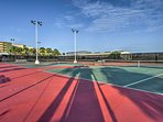 Play a game of tennis on the courts!