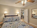 Enjoy restful nights of sleep in this plush queen-sized bed.