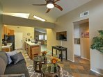 The open kitchen and dining room area  is great for cooking meals in the company of your loved ones.