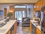 Relish in the fully equipped kitchen while watching TV or chatting with your companions.