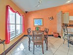 Gather around the dining room table for family games and home cooked meals.