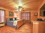 The master bedroom offers a comfy king-sized bed.