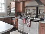 Large Kitchen with Aga. Central Island has stools plus a further small kitchen table for 4.