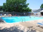 The largest of the three pools located next to the tennis courts.  A two minute walk from our home.