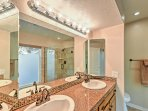 Get ready for the day at this dual-sink vanity!