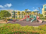 This property is very kid-friendly with 2 playgrounds and kid-friendly pools.