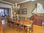 You'll love the grand chandelier and elegant decor that accents the dining room.