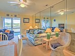 After boisterous days exploring Myrtle Beach, enjoy relaxing on the cozy couch while watching your favorite movie on...