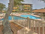 The peaceful patio and swimming area is a great way to decompress and let the worries and cares of everyday life drift...